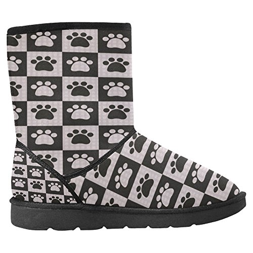 InterestPrint Womens Snow Boots Unique Designed Comfort Winter Boots Dogs Foot Prints Multi 1 OoQycJHy