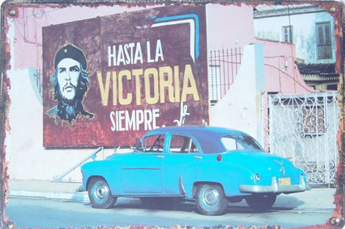 Cuba Old Blue Car Che Guevara, Metal Tin Sign, Vintage Style Wall Ornament Coffee & Bar Decor, Size 8