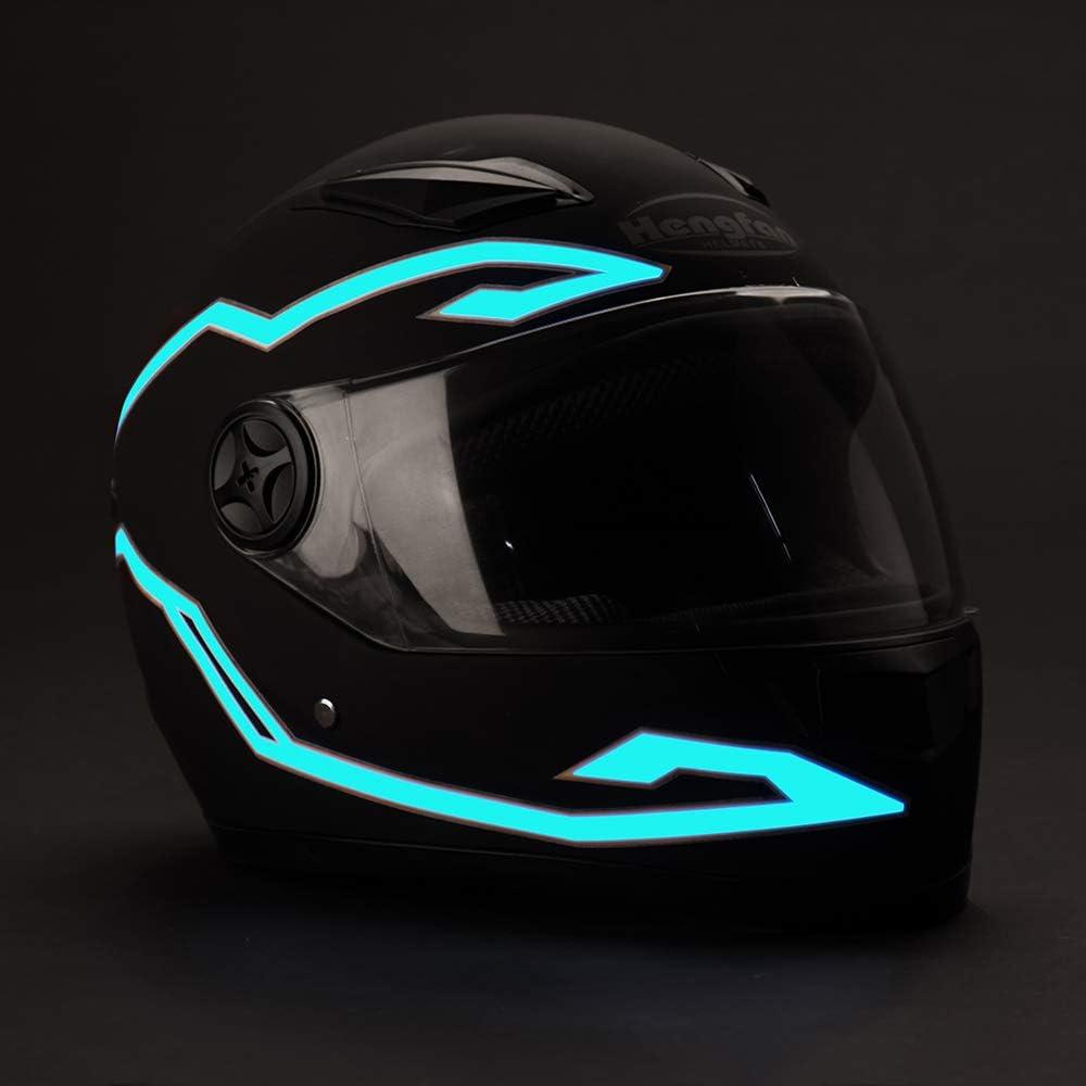Bike Helmet 4PCS Motorcycle Helmet Light Night Riding Signal Helmet EL Light Light Blue 3 Mode Led Helmet Light Strip Decoration Accessories Kit for Motorcycle