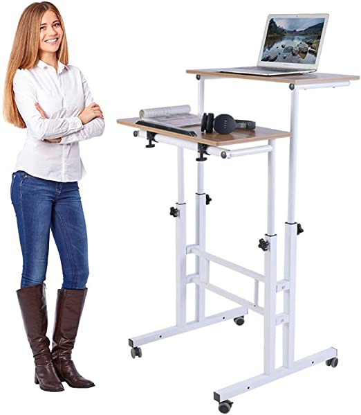 Amazon Com Aiz Mobile Standing Desk Adjustable Computer Desk Rolling Laptop Cart On Wheels Home Office Computer Workstation Portable Laptop Stand For Small Spaces Tall Table For Standing Or Sitting Oak Kitchen