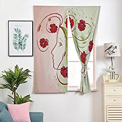 iPrint 3D Blackout Window Curtains,Free Punching Magic Stickers Curtain Portable,Paste Style,Poppies Floral Hair in Watercolor Effect Artistic,2 Panels,for Living Room