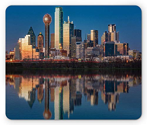 USA Mouse Pad, Dallas Skyline Reflected in Trinity River at Sunset High Rise Business Center, Standard Size Rectangle Non-Slip Rubber Mousepad, Blue Multicolor,9.8 x 11.8 x 0.118 Inches]()