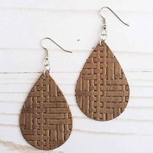 (Brown Basketweave Leather Drop Earrings )