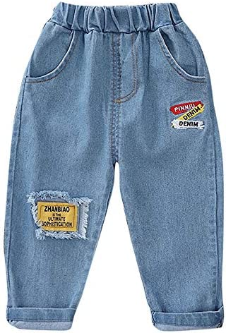 Hopscotch Baby Boys and Baby Girls Cotton and Polyester Applique Solid Text Jeans in Blue Color