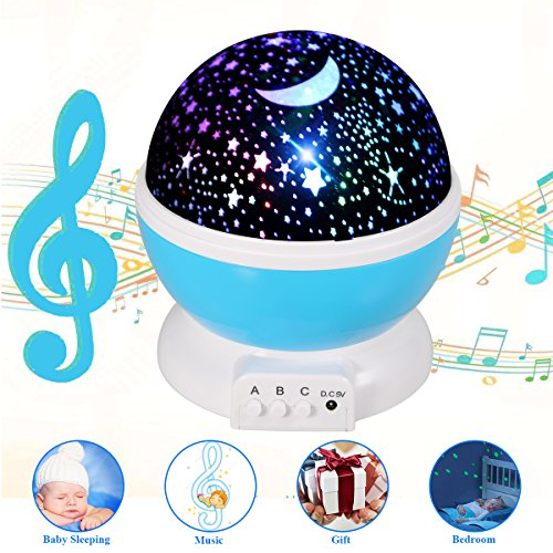 [Updated] Music Star Projector, Children Rechargeable Star Light Rotating Projector, 360° Constellation Rotating Star Projector Lamp with 12 Songs, Relax Gifts for Babies, Children, Nursery and Family by Yododo