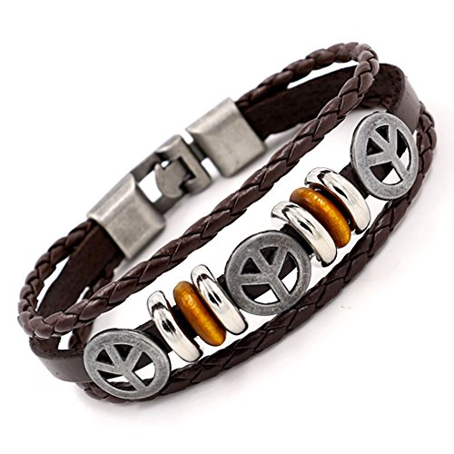 et for Man - Retro Genuine Leather Cuff Wrap Bracelet (Peace Brown) (Peace Heart Bracelet)