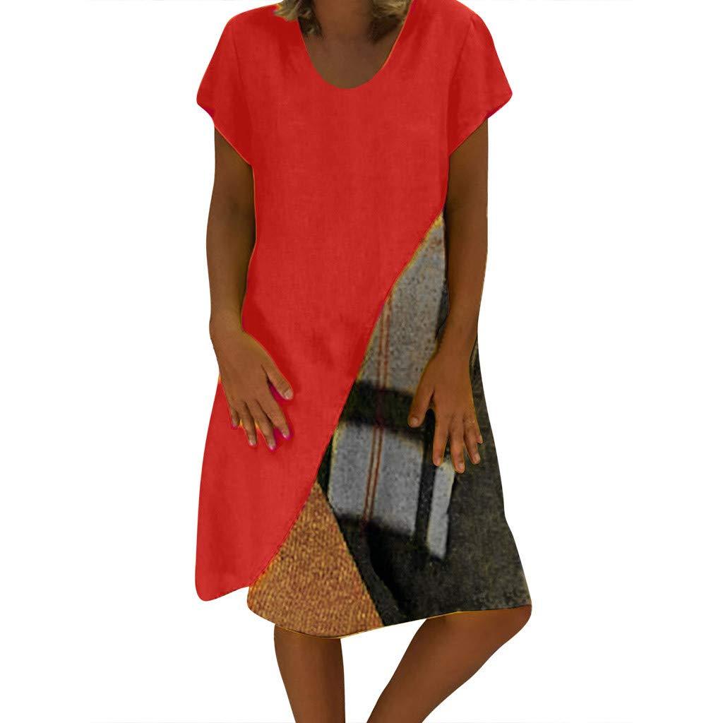 Plus Size Fashion Womens Casual V-Neck Paneled Printing Short Sleeve Dress by VEZAD (Image #1)