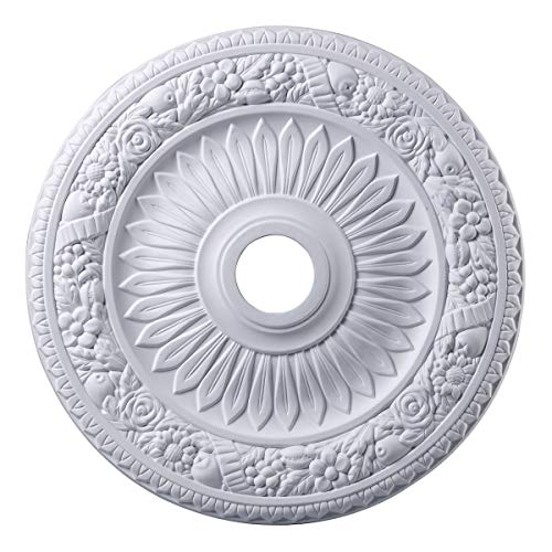 Elk M1006WH Floral Wreath Ceiling Medallion, 24-Inch, White Finish ()
