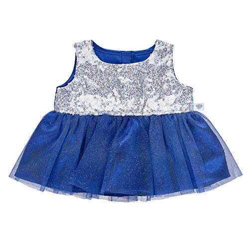 Build A Bear Workshop Blue & Silver Holiday Dress