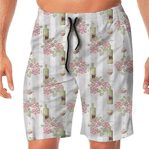 Quick-Dry Beach Shorts for Men Winery,Floral Wine Bottles Glasses Swim Shorts Men XL