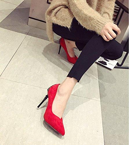 col scarpe 10cm porta Comfort donna Acqua luce Elegante Ajunr red alla di Party 34 retrò scarpe scarpe Court 35 tacco singola perforazione moda alto wq6I8T