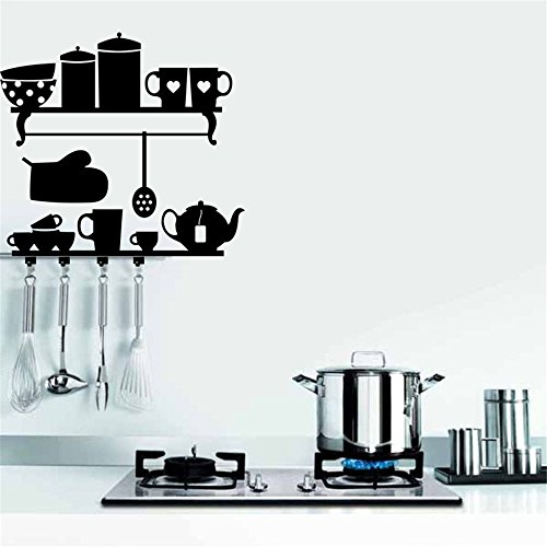 Bomeautify Murals Wall Stickers Black Tableware Hook Home Kitchen Decoration Sticker DIY Removable 7055CM Wallpaper