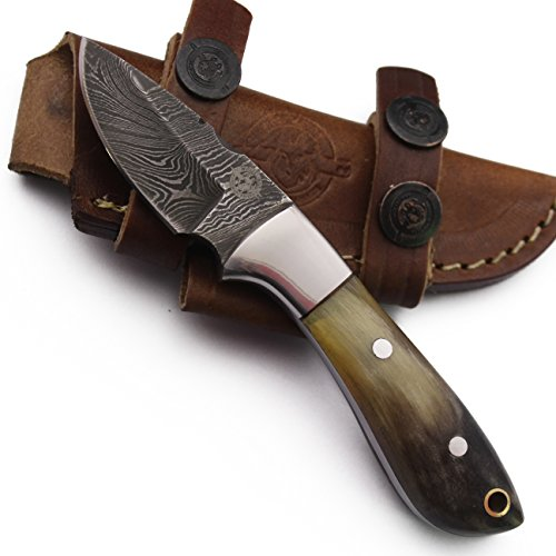 Leather Knife Skinning Sheath (WolfKlinge DCX18-104 Handmade Damascus Steel Skinning Knife, Sheep Horn Bone Handle, with Cowhide Leather Sheath … Be the first to review this item)