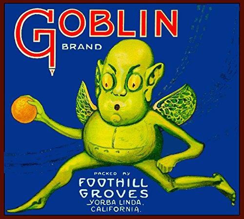 A SLICE IN TIME Yorba Linda Orange County California Goblin Brand Halloween Orange Citrus Fruit Crate Box Label Art Print]()