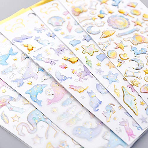 TXIN Set of 5 Cute 3D Stickers Calendar Scrapbook Planner Journal Stickers for Girls, 5 Styles