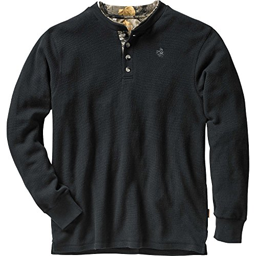 Mens Summit Double Collar Henley (X-Large Tall, Black) ()