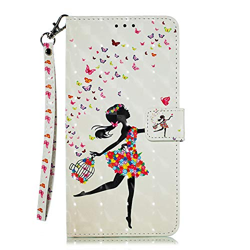 (Galaxy Note9 Case, MerKuyom [Special 3D][Wrist Strap] [Kickstand] Premium PU Leather Wallet Pouch Flip Cover Skin Case for Samsung Galaxy Note9 Note 9, W/Stylus (Flowers Butterfly Girl))