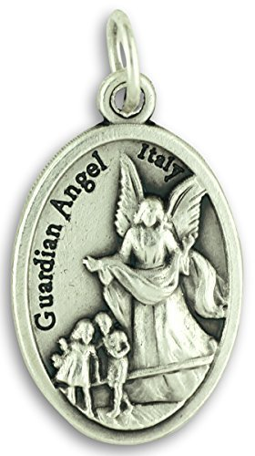 Bulk Buy 5 Pcs - Guardian Angel/St Michael Archangel 1 Inch Pendants Charms with Rings (Angel Guardian Medal)