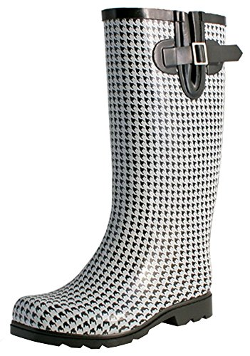 TWO Nomad Women's Drench Colorful Pattern Print Waterproof Rain Boots,7 B(M) US,Black/White Houndstooth