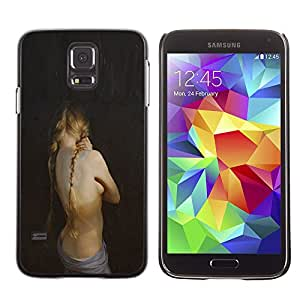 Paccase / SLIM PC / Aliminium Casa Carcasa Funda Case Cover - Girl Topless Blonde Braid Pale Skin Painting - Samsung Galaxy S5 SM-G900
