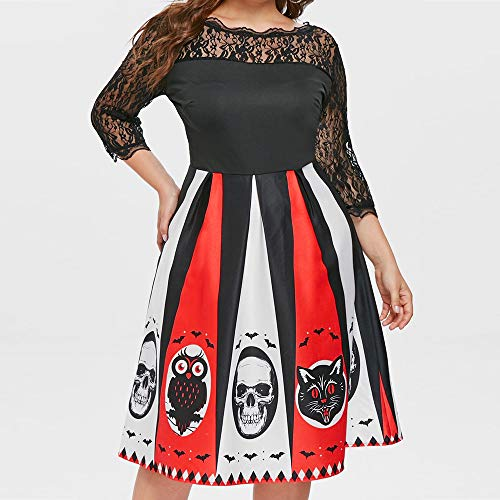 ThsiJJ Women Halloween Party Dress Distinctive Print Lace Hollow Plus Patchwork Color Backless Mini Dress Black White Red -