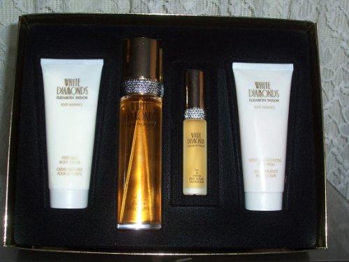 Elizabeth Taylor WH089 White Diamonds 4 Piece Gift Set for Women Eau de Toilette Spray 3.3 Ounce, Mini Eau de Toilette Spray 0.33 Ounce, Body lotion 1.7 Ounce, Body Wash 1.7 Ounce
