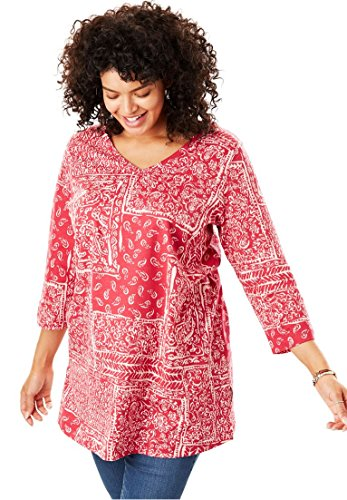 Womens Plus Size Perfect Print V Neck Tunic Cherry Patchwork 22 24