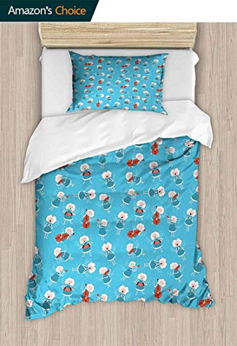 Angel Bedding Bedspread, Music Angels Playing Violin Flute Kazoo Saxophone Trumpet Elf Harp Cello Fantasy, Colorful Floral Print - 2-Pieces,59 W x 78 L Inches, Blue Red White ()