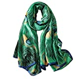 100% Mulberry Silk Scarf Women's Fashion Pattern Large Satin Headscarf Ladies Floral Satin Scarf Gift for Valentine's Day ((Peacock feather))