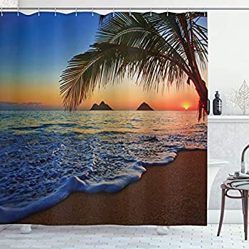 Ambesonne Hawaiian Shower Curtain, Pacific Sunrise at Lanikai Beach Hawaii Colorful Sky Wavy Ocean Surface Scene, Cloth Fabric Bathroom Decor Set with Hooks, 70
