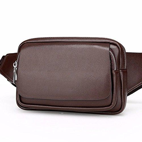 Solo de hombro los pecho de Bolso de cuero gran Brown bolsa de Black de de capacidad cintura Phone ocio transversal Brown hombres Surnoy sección Brown Bag Mobile bolsillo AdwqYA