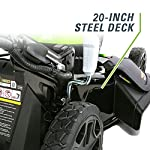 Greenworks g-max 40v 20-inch cordless 3-in-1 lawn mower with smart cut technology, (1) 4ah battery and charger included mo40l410 32 includes (1) max capacity 4 ah - 40v lithium battery , cutting heights - 5 position durable 20'' steel deck lets you mulch, bag, or side discharge allowing you to maintain your yard the way you want it. This lawn mower is not self-propelled innovative smart cut technology automatically increases the speed of the blade when more power is needed