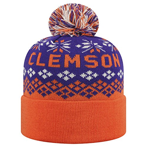 Top of the World Clemson Tigers Official NCAA Cuffed Knit Advisory Stocking Stretch Sock Hat Cap Pom Beanie 457642