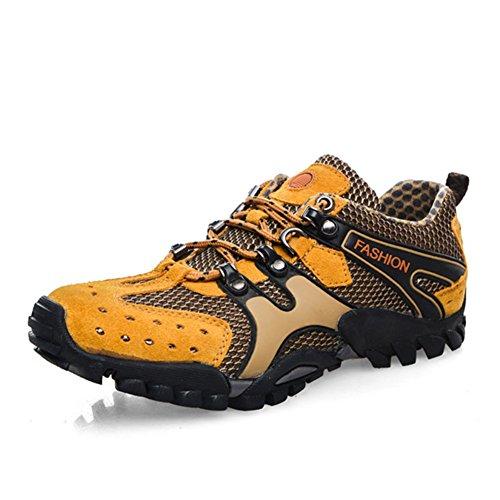 Herren Freizeitschuhe Dress Bergsteigen Herbst Outdoor Leise Unten Sport Schuhe Rutschen Schwarzbraun Gelb