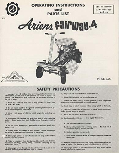 ARIENS FAIRWAY-4 RIDING LAWN MOWER OPERATORS/PARTS MANUAL FPB-66R (512)