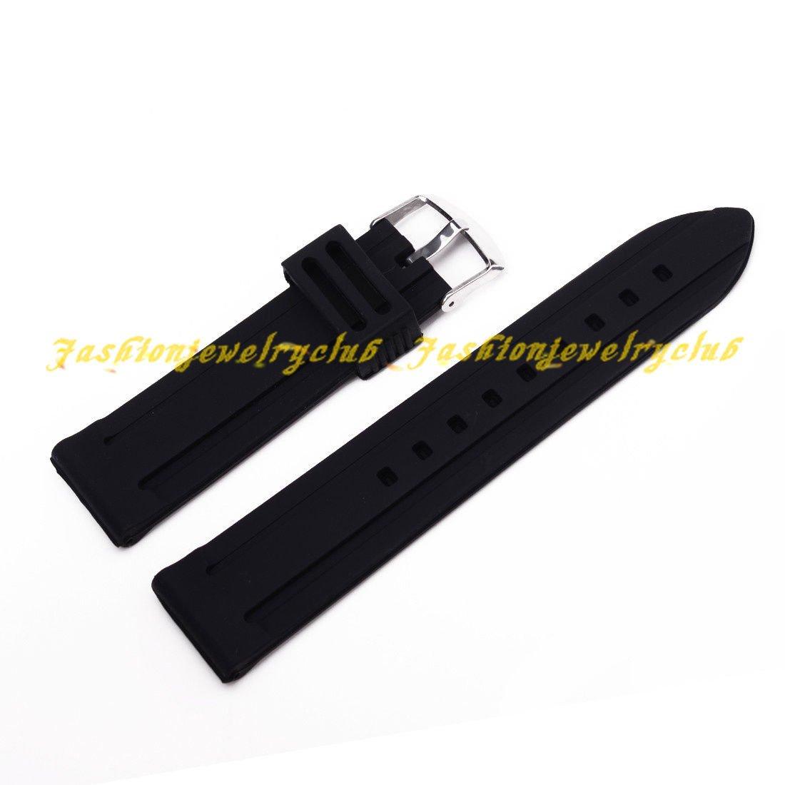 ブラックホットHQメンズレディースシリコンゴム留め金バックル時計バンドベルトストラップ22 mm  B01IBN0CZ0