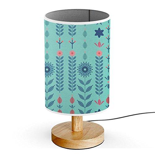(ArtsyLamp - Wood Base Decoration Desk / Table / Bedside Lamp [ Turquoise Plant Floral)