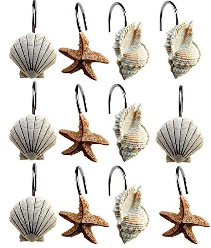 Set of 12 Shower Curtain Hooks Rings Ocean Beach Design Sea Shells Starfish Bathroom Decor