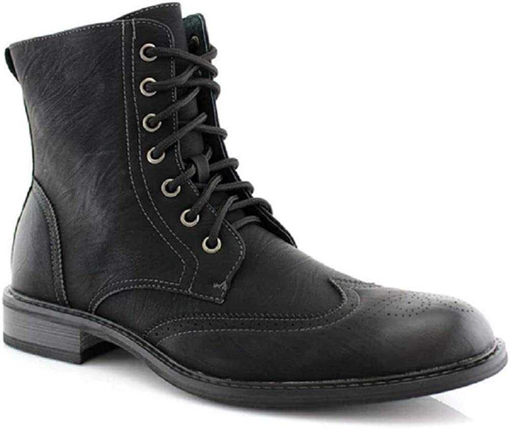 Black brown new Mens leather Military combat work High ankle Boot shoes