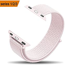amBand for Apple Watch Sport Loop Band 38mm, Lightweight Breathable Nylon Replacement Band for Apple Watch Series 1, Series 2, Series 3, Sport, Edition-Pearl Pink