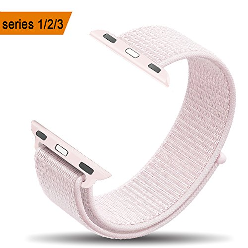 amBand Compatible for Apple Watch Sport Loop Band 42mm, Lightweight Breathable Nylon Replacement Band for Apple Watch Series 1, Series 2, Series 3, Sport, Edition-Pearl Pink