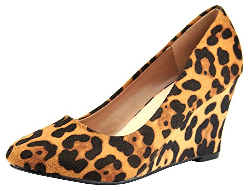 Cambridge Select Dames Gesloten Spitse Neus Slip-on Wedge Leopard Imsu