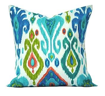 That Dutch Girl Two Ikat Indoor Outdoor Pillow Covers, 16 18 20 , Throw Pillow, Decorative Pillow, Outdoor Pillow, Blue Pillow, Green Pillow, Peach Pillow