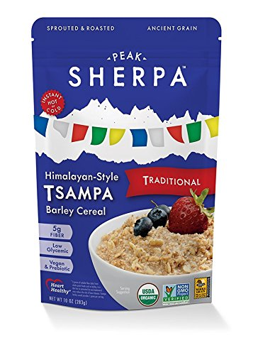 Barley Flakes (Peak Sherpa Traditional Tsampa Cereal, One 10 Ounce Pouch, Ready to Eat, Certified Organic, Sprouted & Roasted Whole Grain Barley Cereal)