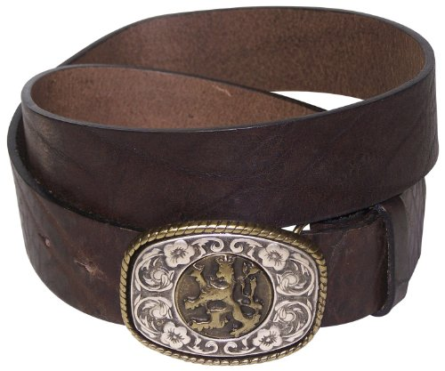 FRONHOFER Men's natural leather belt, Bavarian coat of arms, lion buckle, Size:waist size 47.5 IN XXL EU 120 cm, Color:Brown by Fronhofer (Image #1)