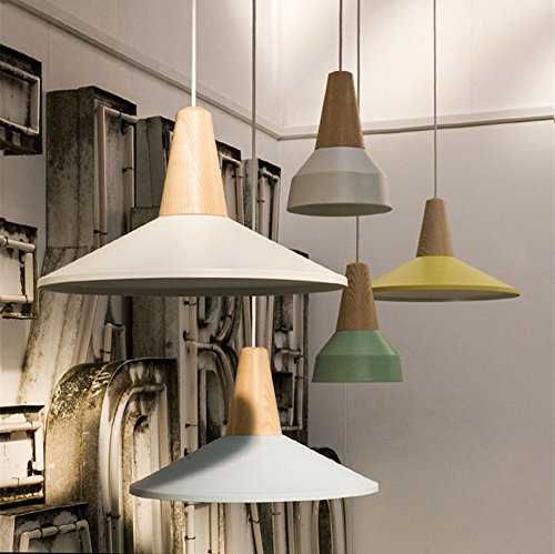 BOKT 60W Edison Lights Modern Industrial Pendant Lamp Colorful Hanging Chandelier Shade Light E26/E27 Base Painted Finish Solid Wood Series Single Head (B-White) by BOKT (Image #4)