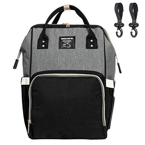 Diaper Bag Organizer, Breast Pump Backpack Bag with 10 Pockets (Black & Grey)