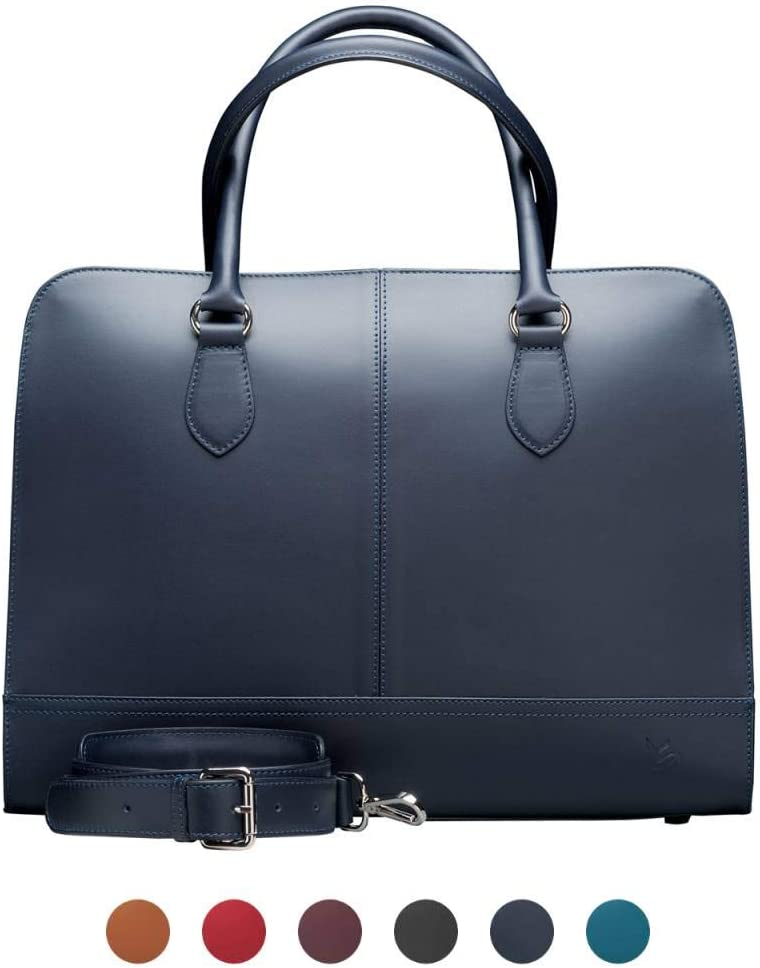 Su.B.dgn 13 Inch Laptop Bag with Trolley Strap for Women - Leather Briefcase, Handbag, Messenger Bag - Dark Blue