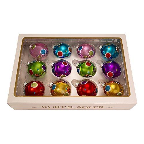 - Kurt S. Adler 60mm Bright Color Ball Set of 12 Ornament Set, 12 Piece