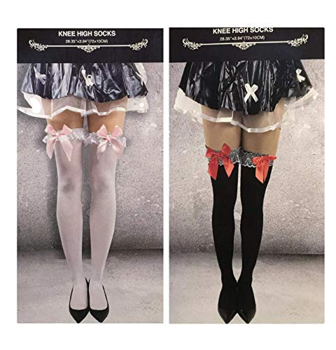 2 pr Lace & Bow Opaque Thigh Knee High Stocking Socks Bundle Halloween Cosplay - 1 White & Pink; 1 Black & Red ()